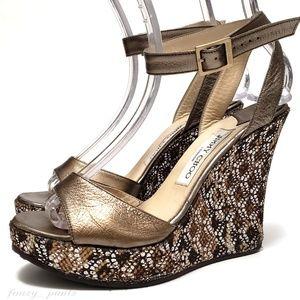 Jimmy Choo platform wedge sandal 39 snake crystal